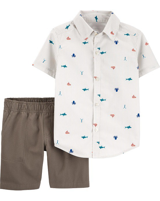 Conjunto bermuda cinza e camisa náutico - Carters  - Kaiuru Kids