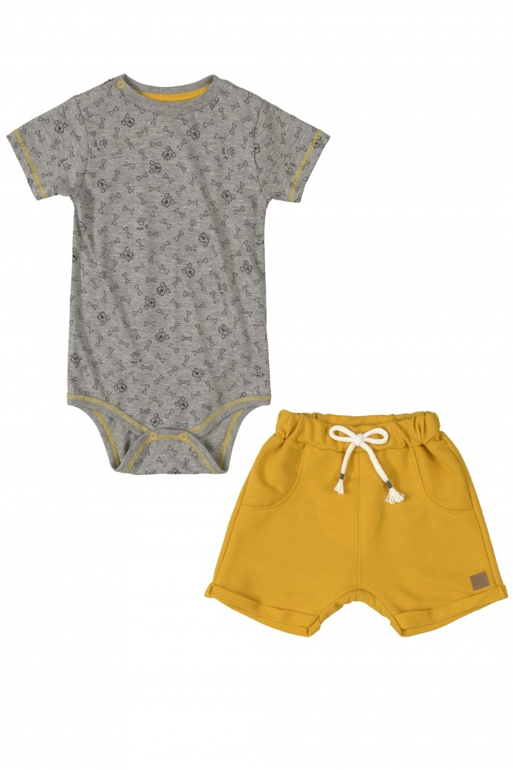 Conjunto bermuda de moletom e body cinza dog lover - Up Baby  - Kaiuru Kids