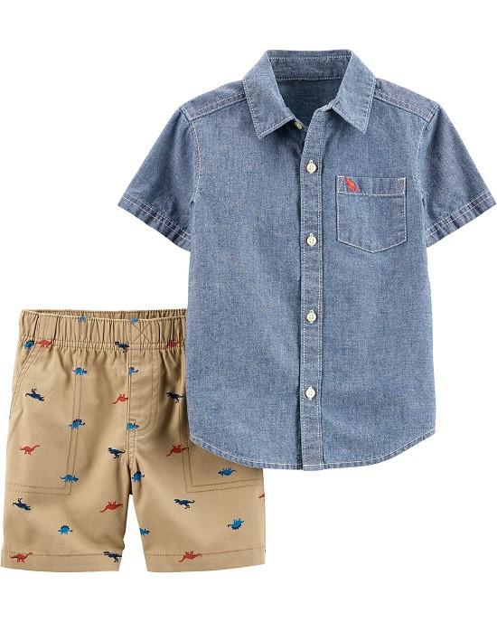 Conjunto bermuda dinossauros e camisa jeans - Carters  - Kaiuru Kids