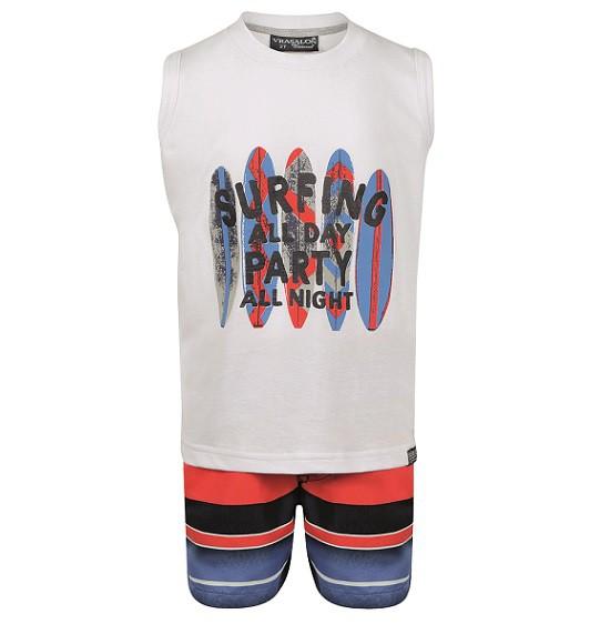 Conjunto Bermuda e Camiseta regata Surfing - Vrasalon  - Kaiuru Kids