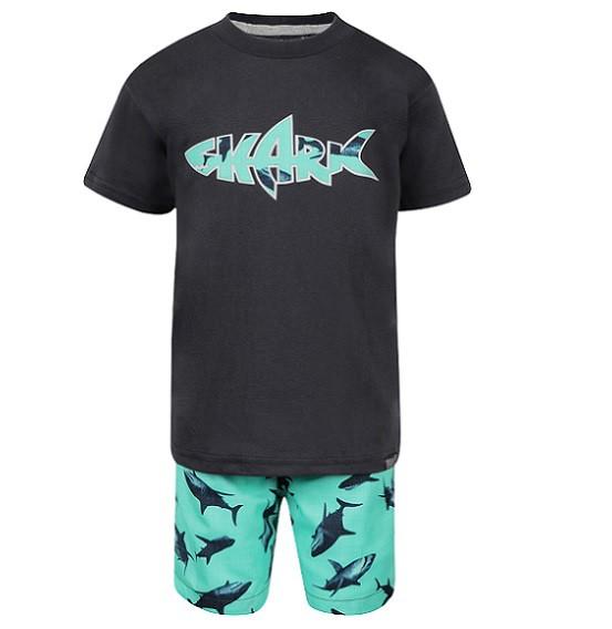 Conjunto Bermuda e Camiseta Tubarões - Vrasalon  - Kaiuru Kids