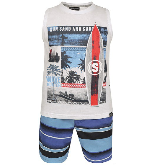 Conjunto Bermuda e Regata Sun Sand And Surf - Vrasalon  - Kaiuru Kids