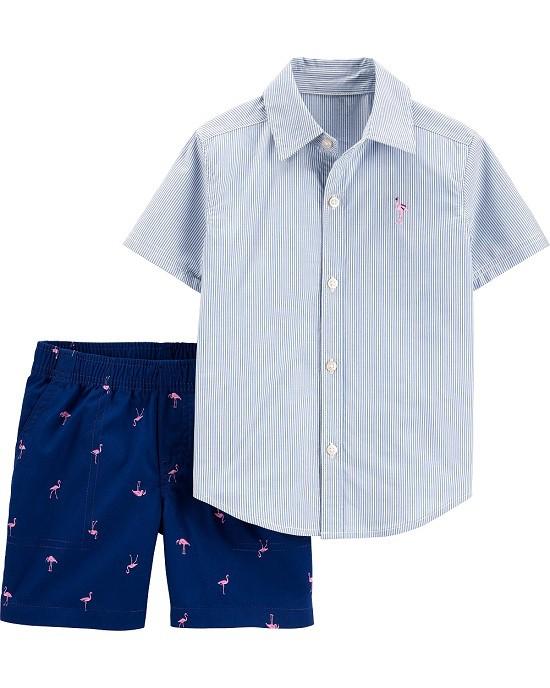 Conjunto bermuda flamingos e camisa listrada azul - Carter