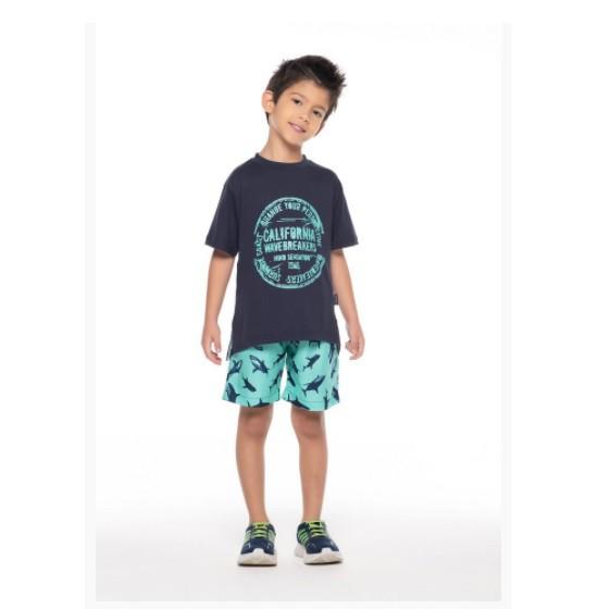 Conjunto Bermuda tubarões e Camiseta California - Vrasalon  - Kaiuru Kids