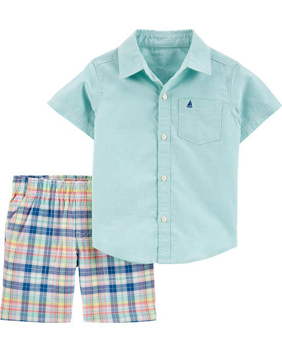Conjunto bermuda xadrez e camisa verde - Carters  - Kaiuru Kids