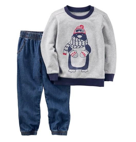 Conjunto calça jeans e moletom pinguim - Carter