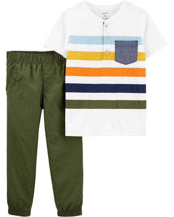 Conjunto calça oliva e camiseta listrada - Carter