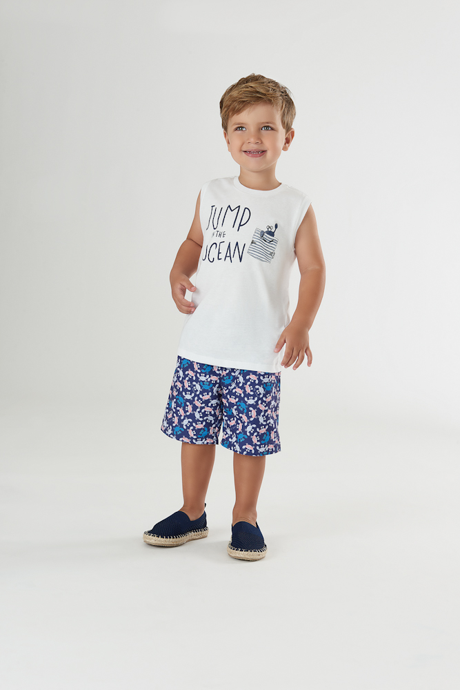 Conjunto camiseta regata branca e bermuda azul caranguejo - Up Baby  - Kaiuru Kids