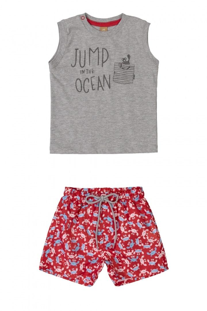 Conjunto camiseta regata cinza e bermuda vermelha caranguejo - Up Baby  - Kaiuru Kids
