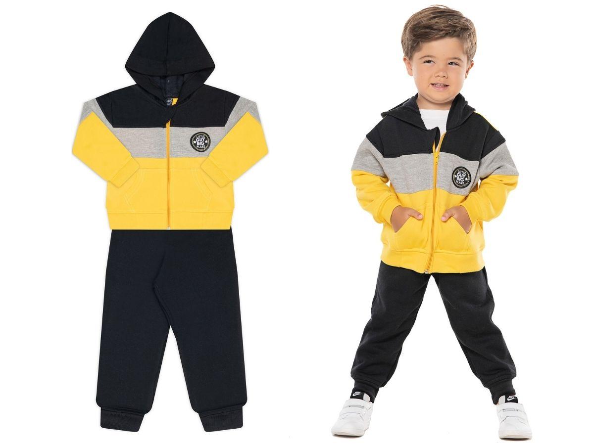 Conjunto de moletom flanelado amarelo Big Guy - Vrasalon  - Kaiuru Kids