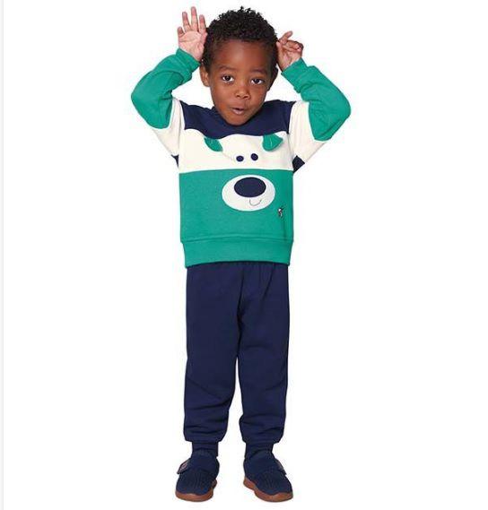 Conjunto de moletom flanelado azul e verde Ursinho - Vrasalon  - Kaiuru Kids