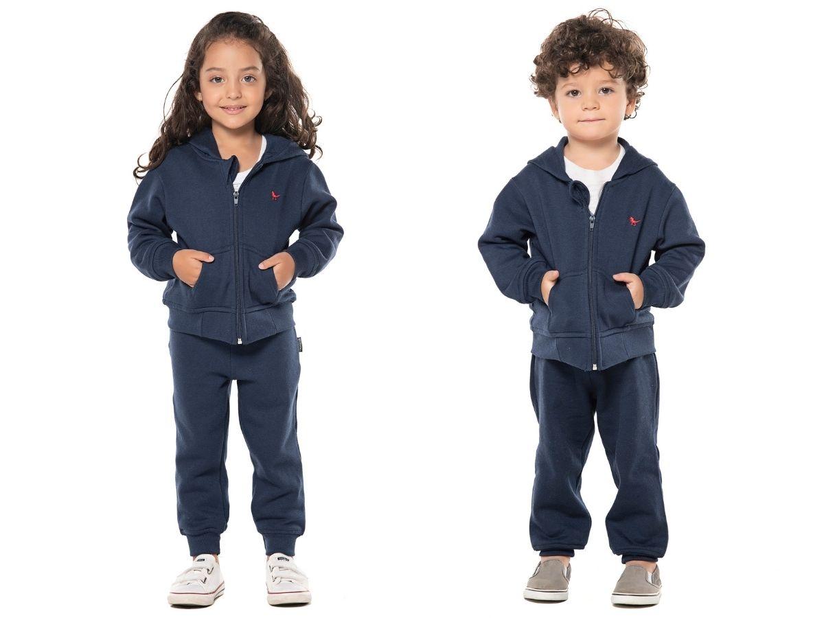 Conjunto de moletom flanelado azul marinho - Vrasalon  - Kaiuru Kids