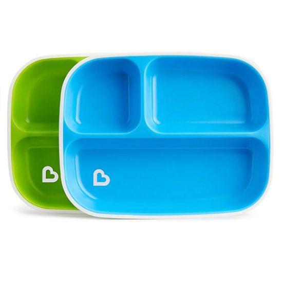 Conjunto de pratos com divisórias azul/verde - Munchkin  - Kaiuru Kids