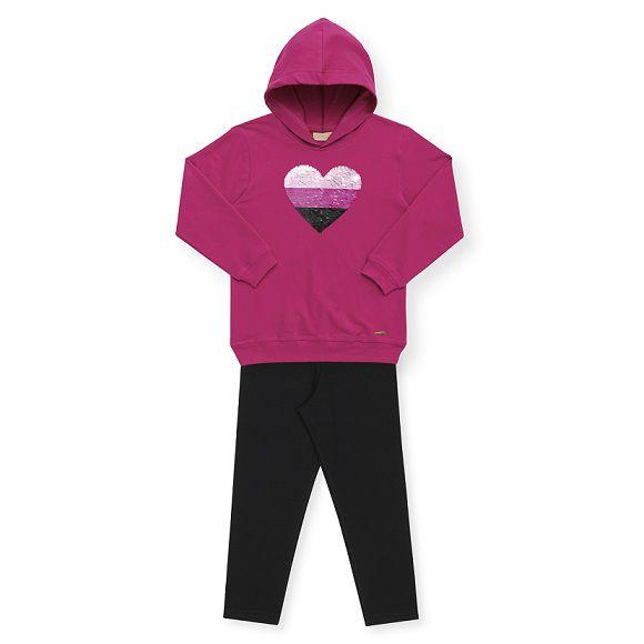 Conjunto em molecotton flanelado pink coração - Vrasalon  - Kaiuru Kids