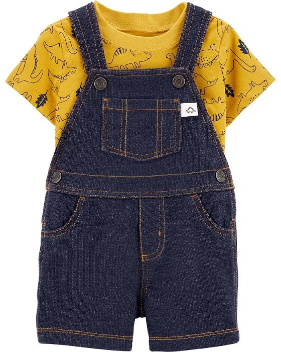 Conjunto jardineira falso jeans e blusa amarela dinossauros - Carters  - Kaiuru Kids