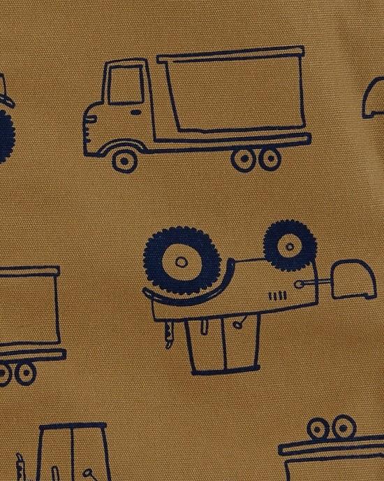 Conjunto jardineira marrom caminhões  - Carters  - Kaiuru Kids