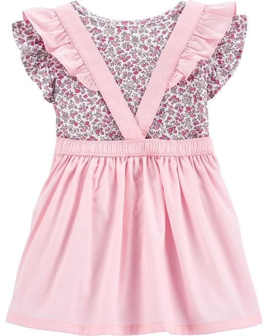 Conjunto jardineira rosa e floral  - Carters  - Kaiuru Kids