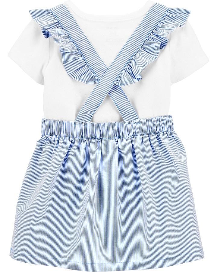 Conjunto jardineira saia listrada azul e branca - Carters  - Kaiuru Kids