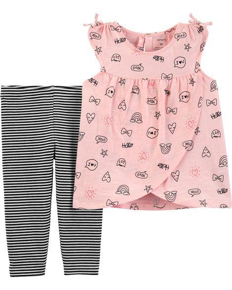 Conjunto legging capri e blusa cross front - Carters  - Kaiuru Kids
