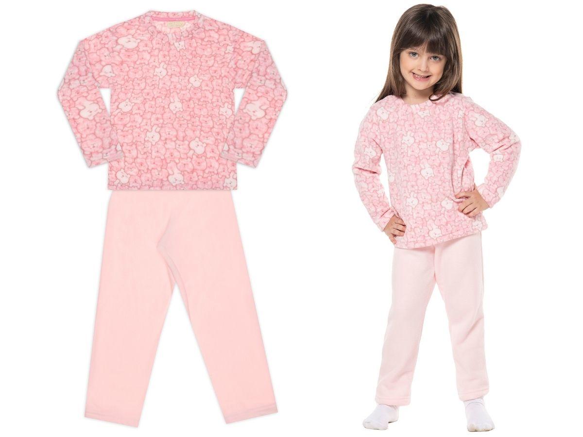 Conjunto pijama de soft ursinha - Vrasalon  - Kaiuru Kids