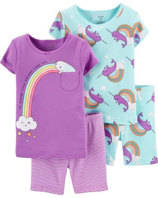Conjunto pijamas verão baleia narval - Carters  - Kaiuru Kids
