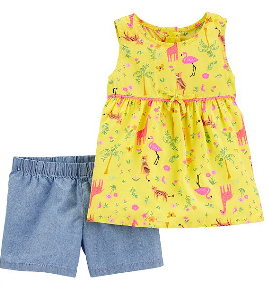 Conjunto short chambray e blusa regata jungle - Carters  - Kaiuru Kids