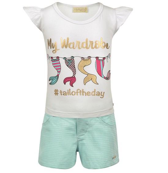 Conjunto Short e Camiseta Caudas Sereias - Vrasalon  - Kaiuru Kids