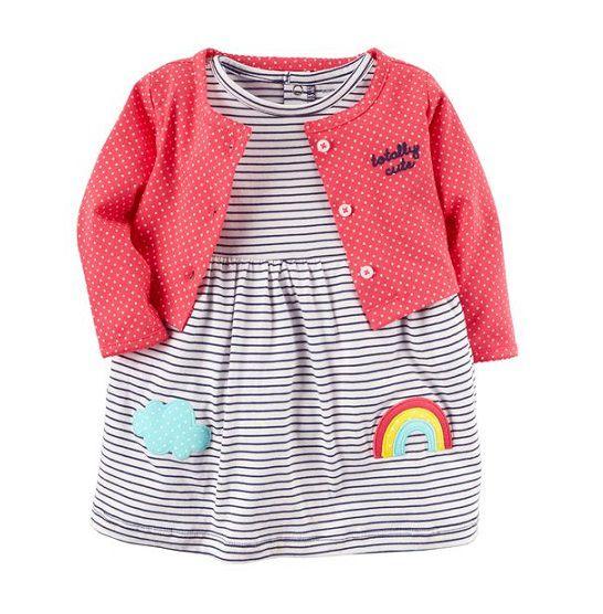 Conjunto vestido listrado e cardigan rosa - Carter