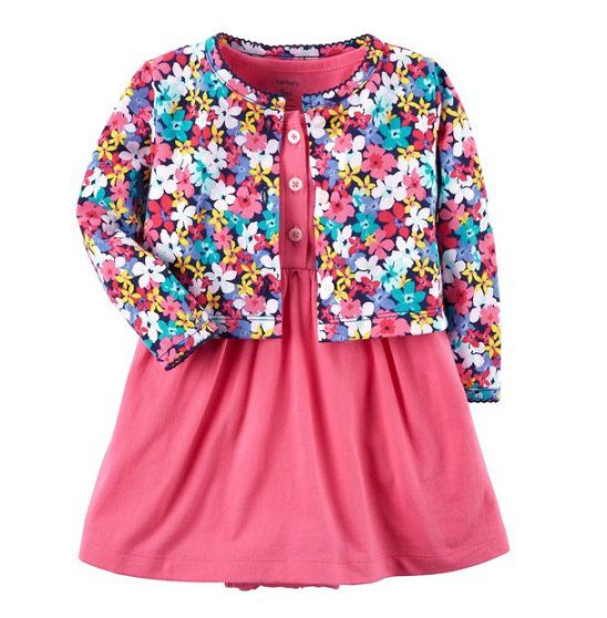 Conjunto vestido rosa e cardigan floral - Carter