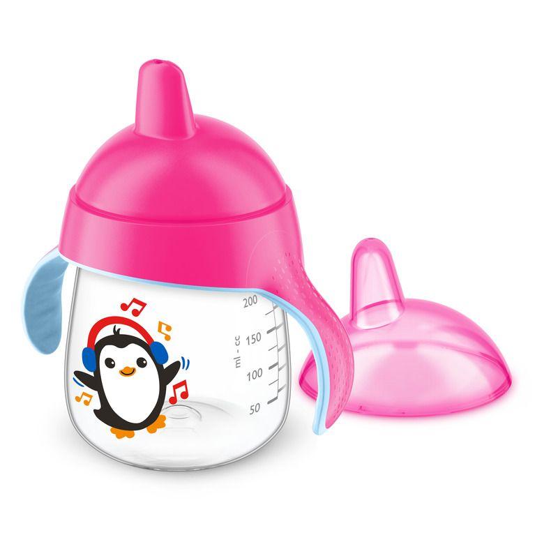 Copo de treinamento pinguim rosa 260 ml - Avent  - Kaiuru Kids