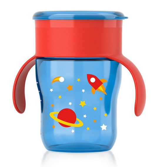 Copo natural azul e vermelho 360 graus 260 ml 9M+ Avent  - Kaiuru Kids