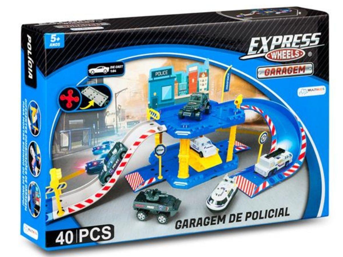 Express wheels garagem polícia 40 peças 5+ anos - Multikids  - Kaiuru Kids