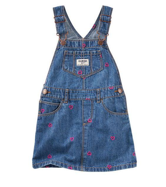 Jardineira jeans corações - OshKosh  - Kaiuru Kids