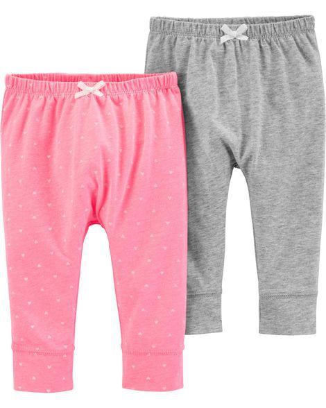 Kit 2 calças cinza e rosa corações - Carter