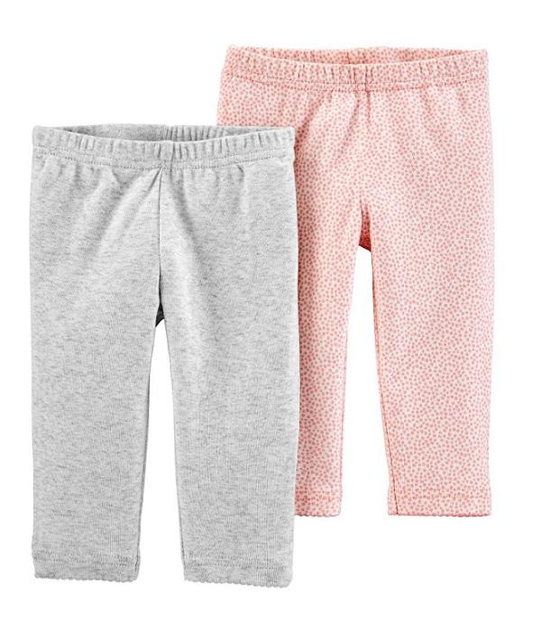 Kit 2 calças de algodão orgânico cinza e rosa - Carters  - Kaiuru Kids