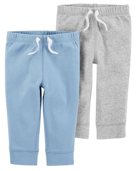Kit 2 calças de malha cinza e azul clara - Carter