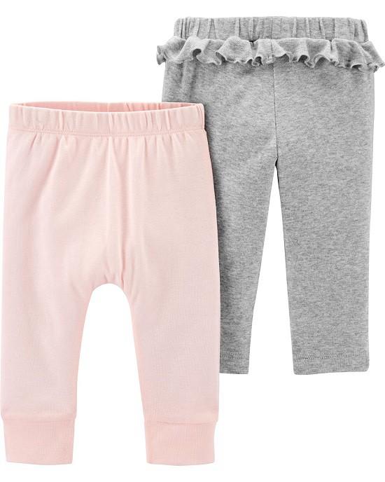 Kit 2 calças de malha rosa claro e cinza com babados - Carters  - Kaiuru Kids