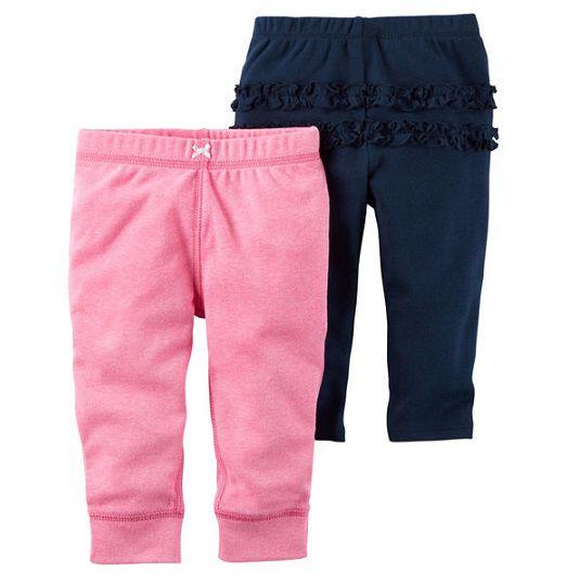 Kit 2 calças de malha rosa e azul marinho com babados - Carter
