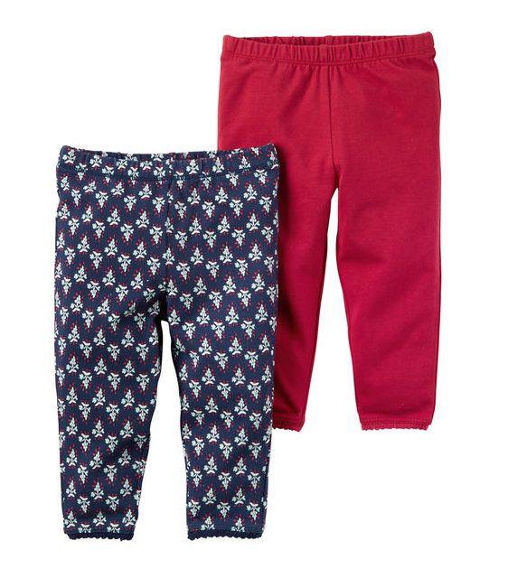 Kit 2 calças vermelho e estampada - Carter