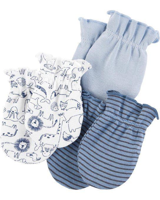 Kit 3 luvas de malha azul animais - Carters  - Kaiuru Kids