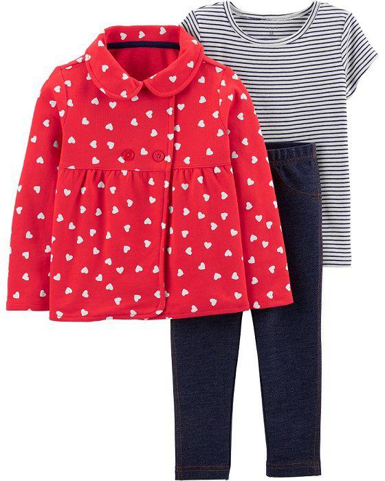 Kit 3 peças com casaco corações - Carters  - Kaiuru Kids
