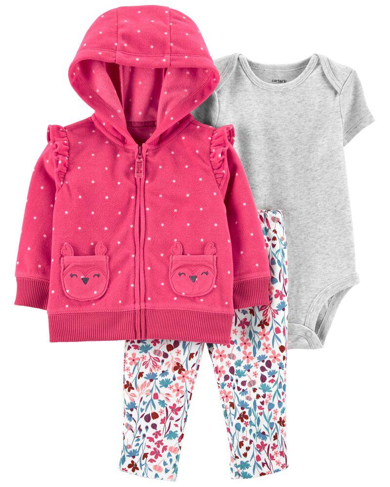 Kit 3 peças com casaco fleece rosa poás - Carters  - Kaiuru Kids