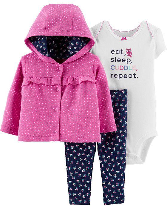 Kit 3 peças com casaco poás e floral - Carters  - Kaiuru Kids