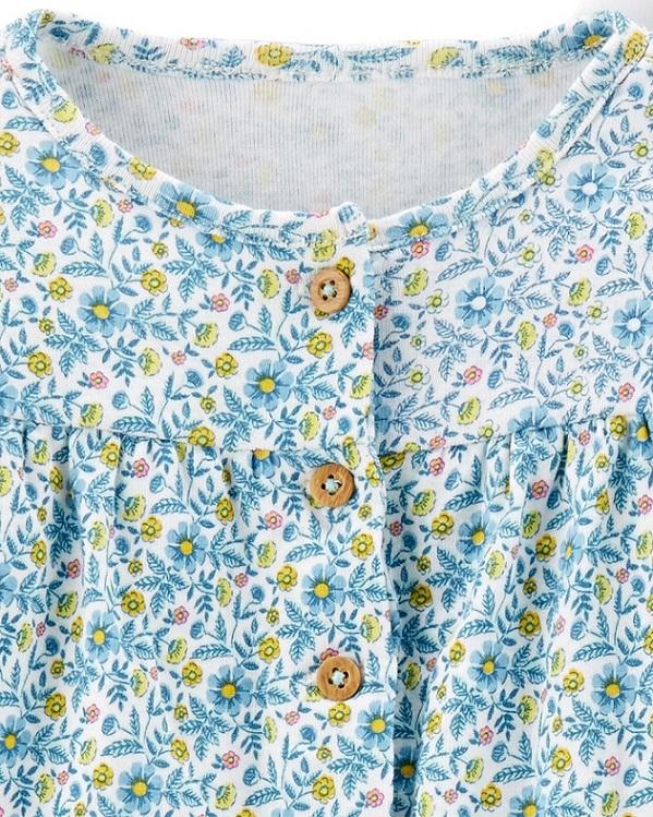 Kit 3 peças com casaco verde floral - Carters  - Kaiuru Kids