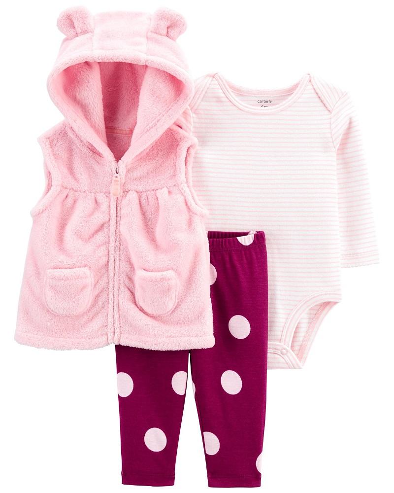 Kit 3 peças com colete de plush rosa - Carters  - Kaiuru Kids