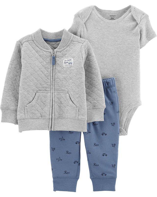 Kit 3 peças com jaqueta cinza - Carters  - Kaiuru Kids