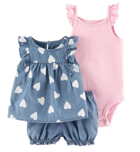 Kit 3 peças com short chambray e blusa corações - Carters  - Kaiuru Kids