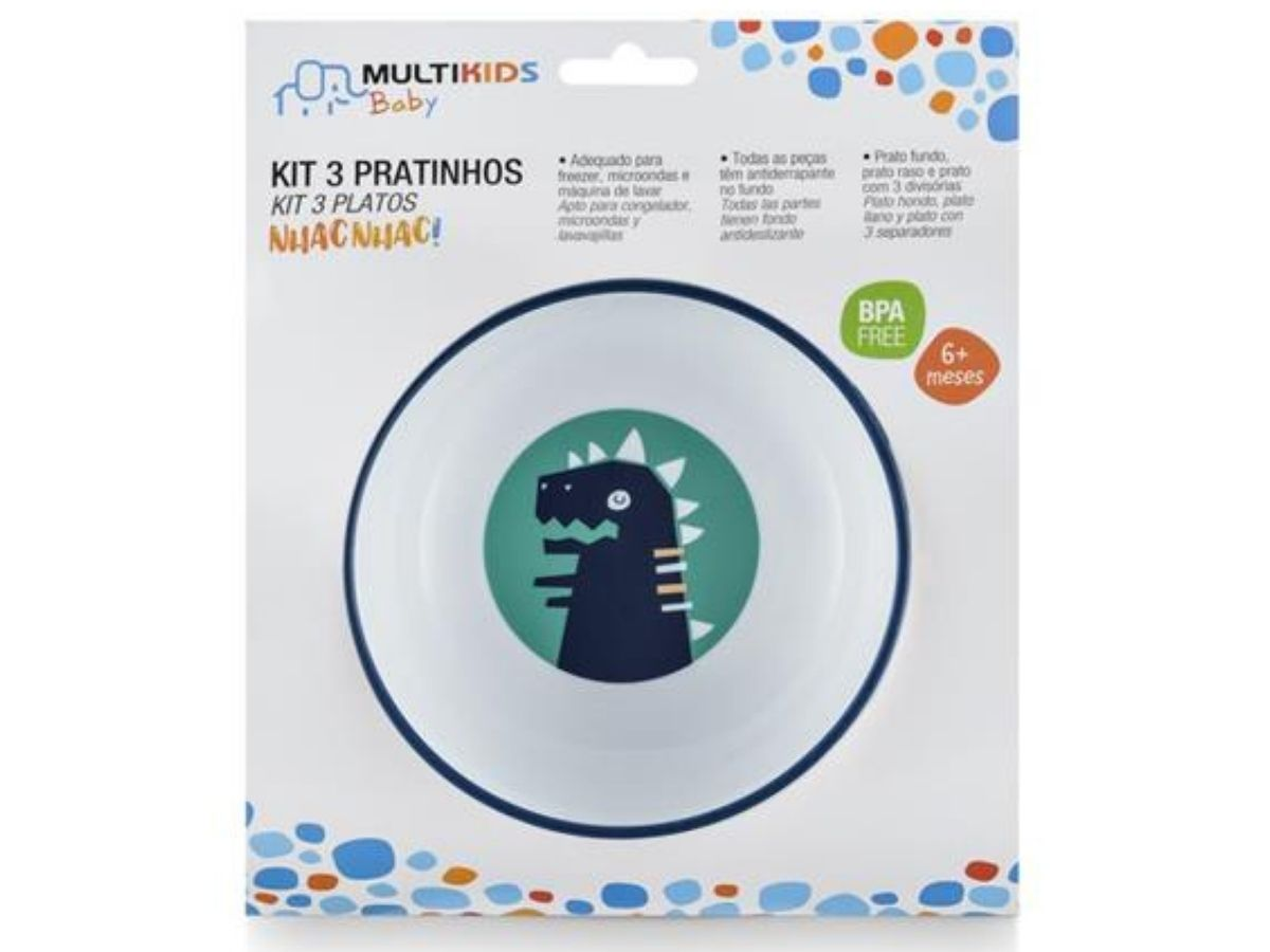 Kit 3 pratinhos Nhac Nhac! Rex - Multikids Baby  - Kaiuru Kids