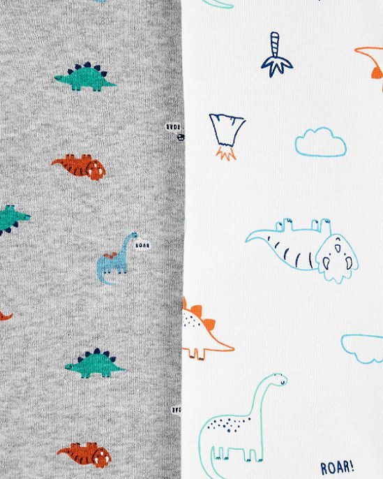 Kit 4 bodies manga longa azul dinossauros - Carters  - Kaiuru Kids