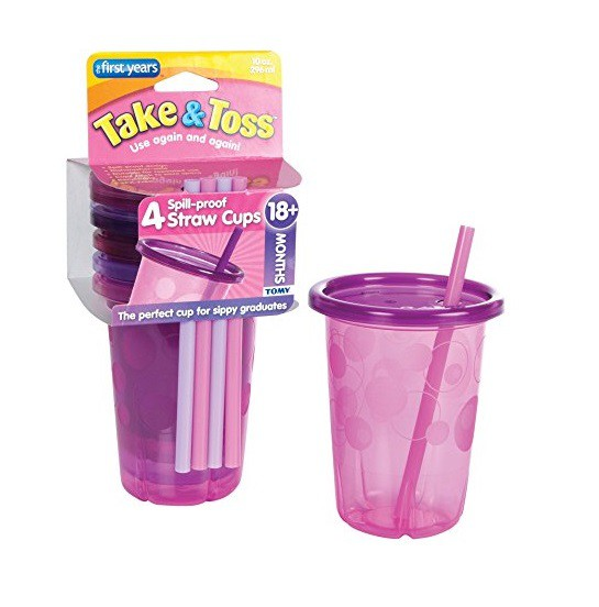 Kit 4 copos rosa de canudinho - The First Years  - Kaiuru Kids